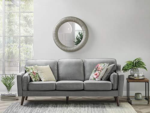 Beliani Modernes Sofa aus Samtstoff in Hellgrau Couch 3er Sitzer Lokka