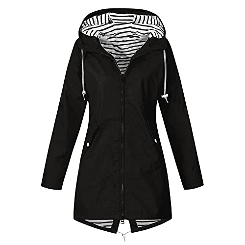 Raincoat Hoodie for Women, Teen Girls Lightweight Hooded Jacket Solid Rain Jacket Outdoor Raincoat Windproof Plus Size Black