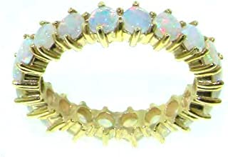 LetsBuyGold 18k Yellow Gold Real Genuine Opal Womens Eternity Ring