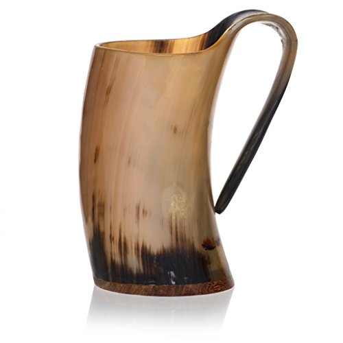 Tankard with Burlap Bag by Weirwood | Polished Viking Drinking Ox Horn...