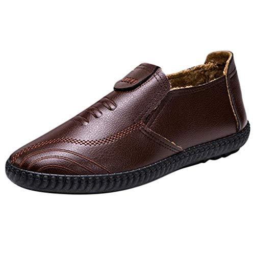 YIHANK Herren Monkstrap Einfarbig Warme Schuhe rutschfeste Runde Kappe Slip-On Schuhe Leder Business