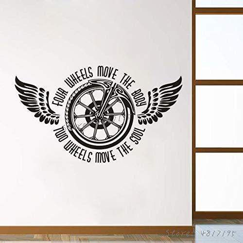 Geiqianjiumai Motorfiets wiel vinyl muur sticker twee-vleugels fiets wiel bewegen ziel citaat muurschildering