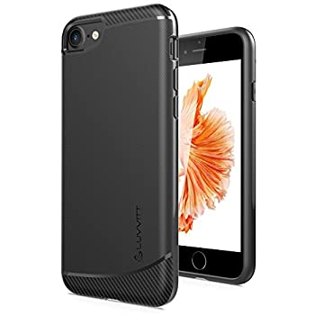iPhone 8 Case LUVVITT [Sleek Armor] Slim Shock Absorbing Flexible Back Cover TPU Rubber Case for Apple iPhone 8  2017  - Black