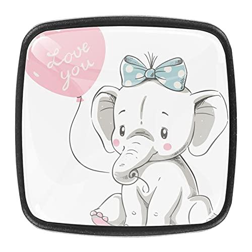Tiradores cajón cristal 4 piezas perillas gabinete,Elefante y corazón ,para puerta cocina escritorio tocador