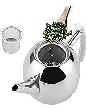 Dzbanek do herbaty ze stali nierdzewnej z sitkiem, dzbanek do herbaty ze stali nierdzewnej 1,5 litra, dzbanek + metalowy sitko, nadaje się do mycia w zmywarce, srebrny