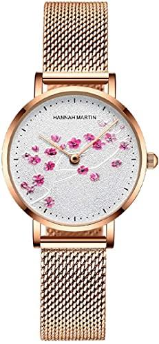 JZDH Reloj de Pulsera, Reloj de Banda de Acero Tejido Impermeable de Movimiento japonés, Reloj de Cuarzo de Flores de Plum de Oro Rosa, Reloj de Cuarzo t4empperamiento literario Estudiante