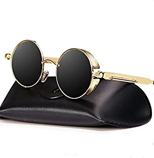 Carls Louison Round Men Women Steampunk Sunglasses (Gold Black)