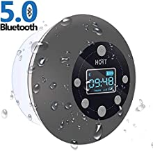 Shower Radio Bluetooth Speaker 5.0, HOTT Waterproof Wireless Bathroom Music with Suction Cup FM Microphone Hands-Free Calling 10 Hours LCD Clock Display SD Card Playing for iPhone iPad Samsung Nexus
