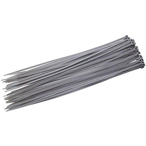310mm x 4.8mm grigio argento fascette in nylon copricerchi fili cavo di sicurezza, confezione da 16