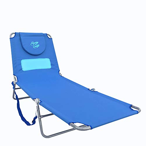 Sun in Comfort | Comfort Lounge Beach Chair for Women and Beach Lounge Chairs for Outside Bohemian Blue
