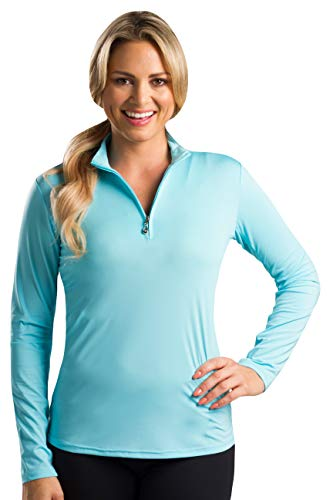 SanSoleil Women's Sunglow UV 50 Long Sleeve Zip Mock Top - Large - Capri Blue