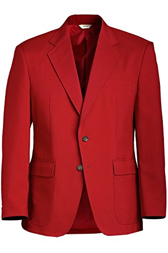 Ed Garments Men's Classic Two Button Single Breasted Blazer, RED, 52 X