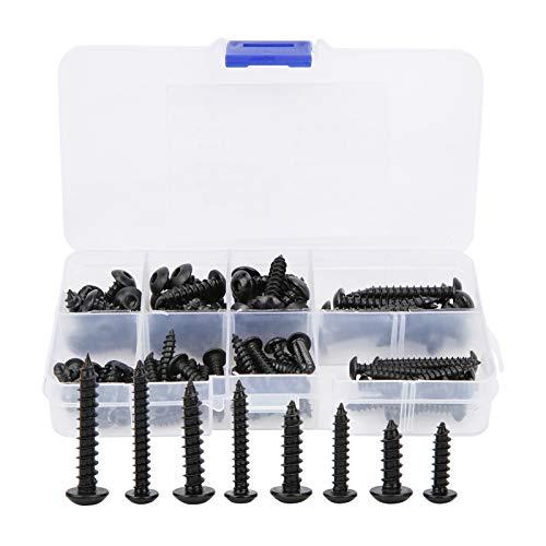 80 piezas de tornillos autorroscantes, 8 tipos M4 M5 de acero al carbono, juego de surtido de clavos para paneles de yeso con zócalo hexagonal, tornillos autoperforantes, kit de surtido de tornillos.
