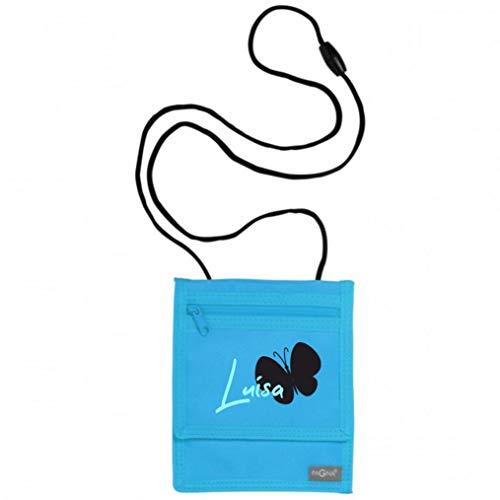 Brustbeutel zum Umhängen mit Namen | Motiv Schmetterling personalisiert & Bedruckt | Geldbörse Kindergeldbeutel Münzfach für Kinder Jungen Mädchen Geldbeutel mit Klettverschluss