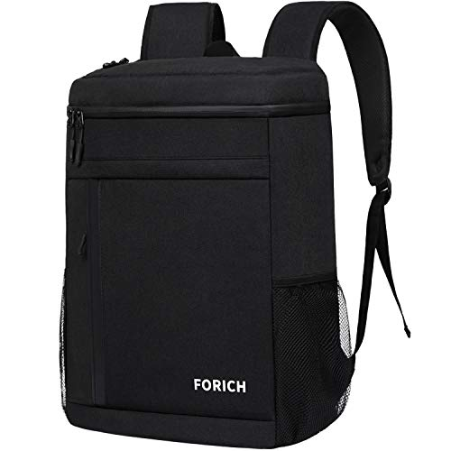 FORICH Cooler Backpack Leak Proof Insulated Backpack Cooler Bag Portable Soft Cooler Backpacks for Men Women to Work Lunch Camping Hiking Beach Picnic Travel Fishing Beer Bottle, 30 Cans (Black)