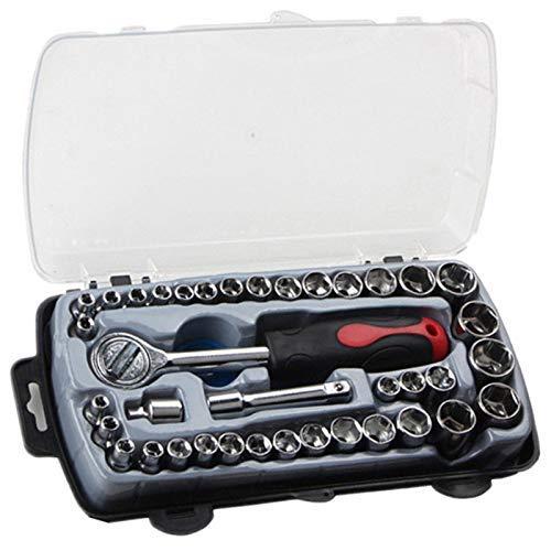 Outingstarcase 40pcs T reparación de la forma del coche herramienta de llaves de vaso anti-corrosión Llave de carraca herramientas de la combinación de reparación de automóviles con caja de transporte