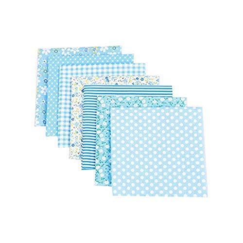 CULASIGN 7 Stück Patchwork Stoffe Blume Baumwollstoff Set Stoffpaket DIY Baumwolltuch Stoffreste Paket Stoffpakete (Blau,50 * 50cm)