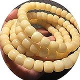 J.Memi's Mala Budista 108 Cuentas Pulsera, Hecho A Mano Tibetano Cuff para Meditación Rosario Yoga Collar Joyas, Accesorios Regalo,Amarillo