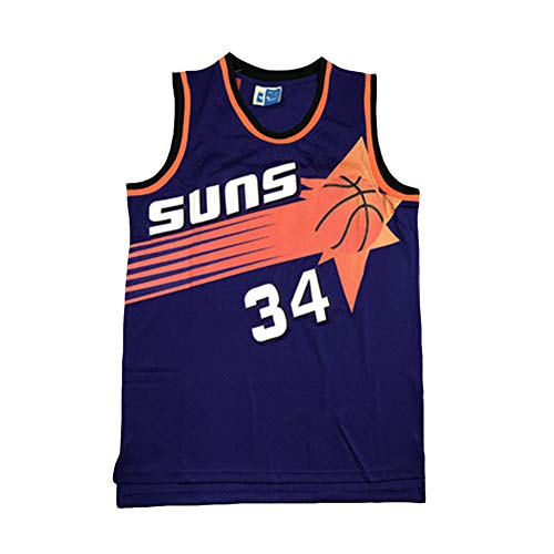 Legend Rückfall Basketball Trikot, Phoenix Suns 34# Charles Barkley Retro Stickerei Atmungsaktive Swingman Jersey Weste, 90S Hip Hop Kleidung T-Shirt Top für Party-Purple-L