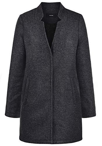 VERO MODA Mania Damen Winter Jacke Wollmantel Winterjacke Mantel Mit Reverskragen, Größe:L, Farbe:Dark Grey Melange