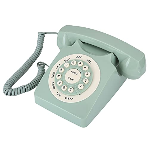 Teléfono de esfera giratoria de estilo europeo retro, luz azul, teléfono fijo clásico antiguo, reducción de ruido, teléfono de marcado tradicional, teléfono de volumen ajustable aristocrático