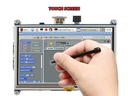 Schermo 5 pollici A LCD, 800 * 480 touchscreen resistivo, interfaccia HDMI per Raspberry Pi 4/3/2 modello B/A