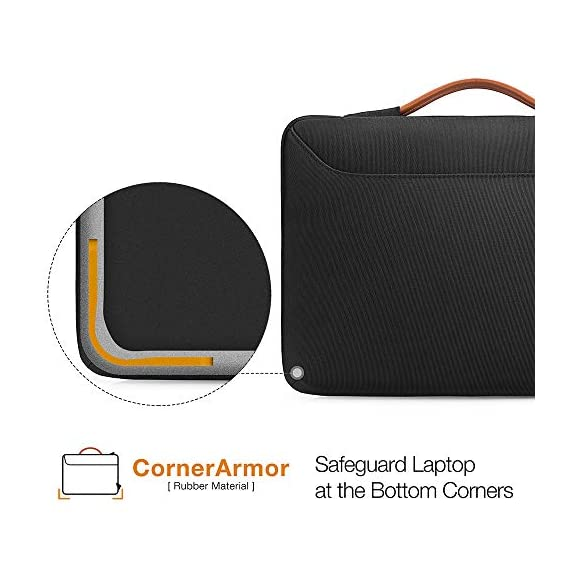 tomtoc Recycled Laptop Sleeve for 13-inch MacBook Air M1/A2337 2018-2021, MacBook Pro with USB-C M1/A2338 2016-2021, 12… 3 CornerArmor Patent Design - Protective CornerArmor patent design at the bottom of the case and 360° protective soft padding around inside protect your laptop from bumps in accident, just like the Car Airbag Stay Organized – Except the main compartment for your laptop, this case also features a second large zipper compartment for additional storage such as iPad mini, charger, power adaptors, cables, mouse and other accessories Ultra-Secure – Specially designed secure belt with Velcro inside the 180° opening main compartment protect your laptop from sudden drop. Ultra-thick protective cushioning interior ensures your laptop from bumps, dents, scratches and spills at all times