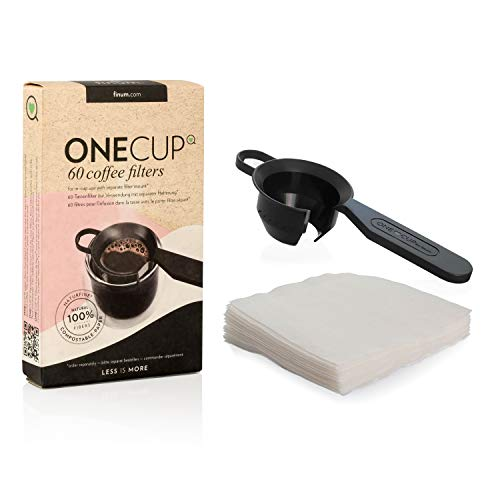 Finum SET mit 60 ONE CUP Coffee Filters + Halter - 60 Kaffeefilter für die Tasse + Halterung, Papierfilter, Filter für Kaffeepulver, 60 Tassenfilter, Kaffeebereiter für Becher – 1 Stk./60 Filter