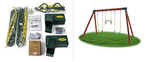 Eastern Jungle Gym DIY Swing Set Hardware Kit with Easy 1-2-3 A-Frame Brackets, Swing Seats, Ring...
