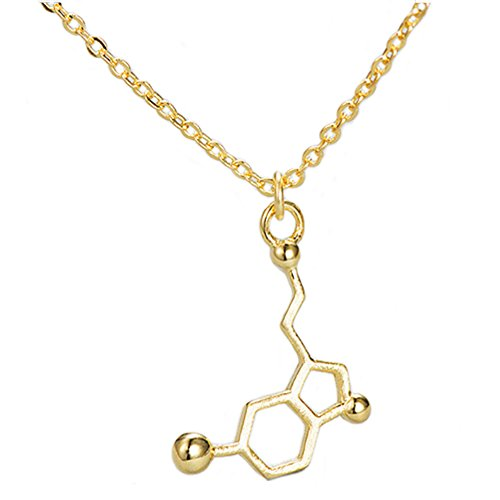Helen de Lete Dopamine Chemical Molecular Formula Sterling Silver Choker Necklace (Golden)