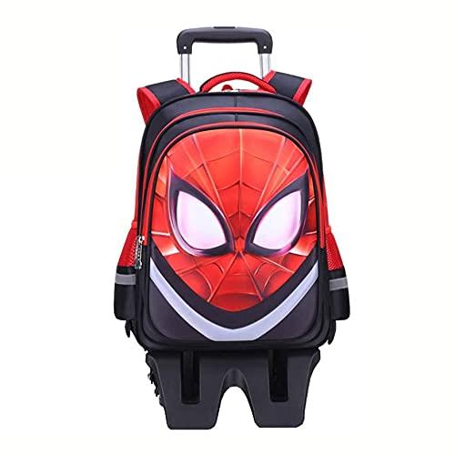 XNheadPS Spiderman Trolley Sacchetti di Scuola con Ruote per i Bambini Bambini Avengers Deposito Portare avanti con Ruote Zaino Leggero Daypack Portatile,Black-32 * 17 * 45cm