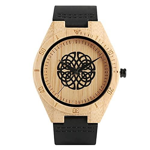 RWJFH Reloj de Madera Reloj de Pulsera de Cuero para Hombre con Esfera Redonda y Bola de Flores Negras, Caja de Madera de bambú Natural, Relojes de Pulsera de Cuarzo para Hombre, Regalos, A