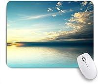 ECOMAOMI 可愛いマウスパッド 海の夕日日没反射地平線暗い雲自然画像プリントのパノラマ 滑り止めゴムバッキングマウスパッドノートブックコンピュータマウスマット