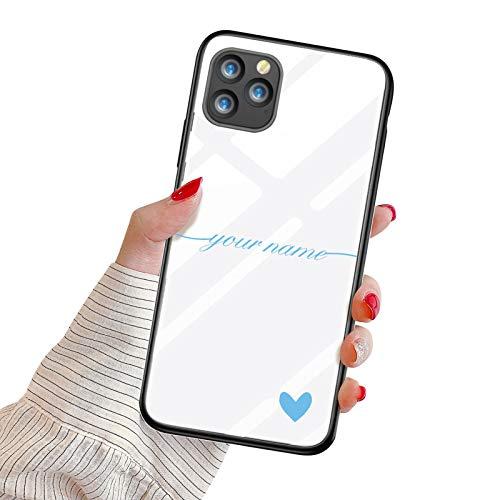 Oihxse Mujer Niña Moda Cover para Samsung Galaxy A40 Funda Personalizada Nombre Texto Carcasa Anti-rasguños Vidrio Templado Estuche Case Festival Regalo para Madre/Esposa/Novia,Azul
