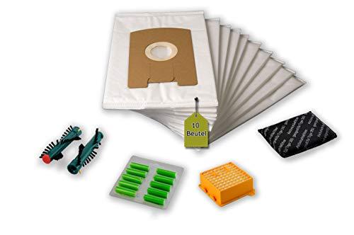 eVendix Filterset kompatibel mit Vorwerk Tiger, Kobold VT 260: 10 Staubsaugerbeutel, ähnlich FP 260, Staubbeutel + 1 Hygiene-Mikrofilter Hepa + 1 Aktivkohle-Filter + 2 Ersatzbürsten EB 360 (1 Paar)