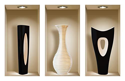 DIY Pegatinas Etiquetas para Pared Desmontables de Vinilo 3D Arte Mágico de Nisha, Conjunto de 3, Florero blanco y negro
