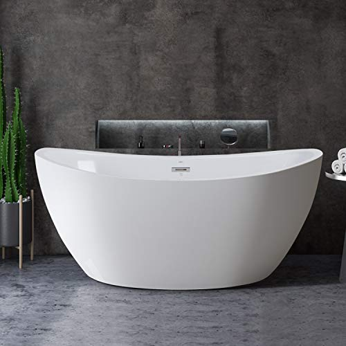 FerdY 59' Freestanding Bathtub Curve Edge Freestanding Soaking Bathtub, F-02588 Glossy White, cUPC Certified, Drain & Overflow Assembly Included