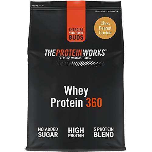 THE PROTEIN WORKS Whey Protein 360 Powder | High Protein Shake | No Added Sugar and Low Fat | Protein Blend | Choc Peanut Cookie Dough | 600 g