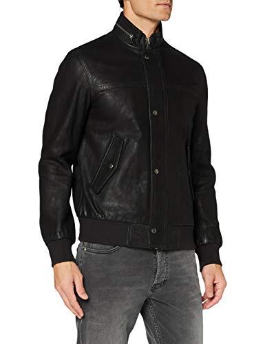 Sisley Leather Jacket Giacca, Schwarz 100, 54 Uomo