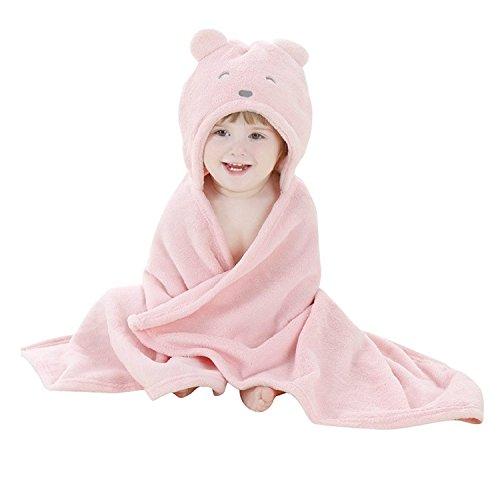 Bébé Peignoir de Bain à Capuche Animal - Serviette de Bain avec Chapeau Bébé - Serviette Drap de Bain Bebe(100 * 100) (Rose, 0-2 Ans)