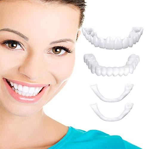 AZD 2 Pares Dentadura 2 Superiores Y 2 Inferiores para Los Dientes Snap on Fit Flex Cosmetic Teeth Inmediato Blanqueamiento Smile Dentadura Reutilizable Falsos Dentadura para Hombre Y Mujer