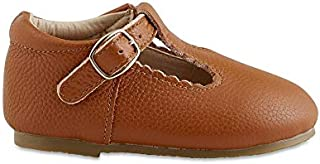 Babe Basics Toddler Mary Janes | Hard Sole T-Bars | Genuine Leather Moccasins with T-Strap for Toddlers
