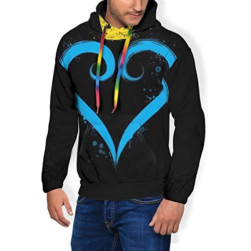 Kingdom Hearts Crown Heart - Sudadera con capucha para hombre, diseño de corazón Negro Negro ( S