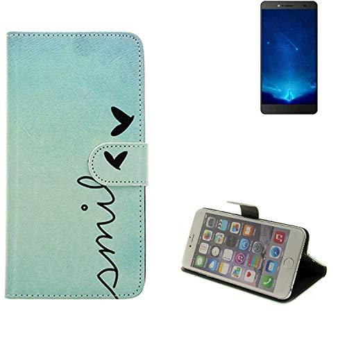 K-S-Trade® Schutzhülle Für Bluboo Maya Max Hülle Wallet Case Flip Cover Tasche Bookstyle Etui Handyhülle ''Smile'' Türkis Standfunktion Kameraschutz (1Stk)