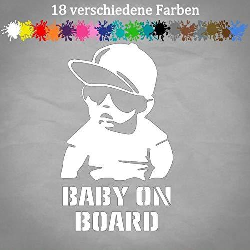 Baby on Bord Aufkleber 20x12cm Cool Cap Geburt Kind an Bord Auto Tuning Sticker in 18 Farben