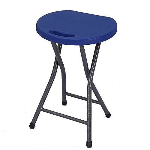 Zhang High-Strength Folding Stool Unique and Ergonomic Seat Design 200 Kg Capacity Bar Stool 2 Pieces ( Color : Dark Blue )