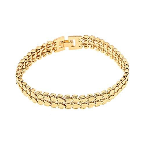 YITIANTIAN Joyería de corazón a la Moda para Hombre, Pulsera de Color Dorado, Brazalete de Cadena de eslabones, Regalo de joyería de Lujo