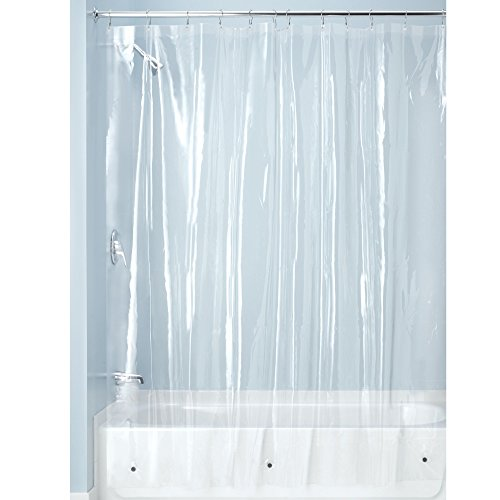 iDesign Plastic Shower Curtain Liner, Mold and Mildew Resistant Plastic Shower Curtain for use Alone...