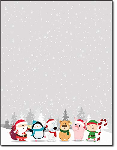 Winter Friends Holiday Christmas Stationery Paper - 80 Sheets
