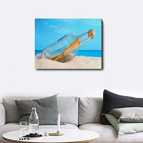 zgwxp77 Quadro su Tela Drift Poster Bottiglia e Stampe Beach Sky Wall Art Soggiorno Decorazione Camera da Letto casa60x48cm Senza Cornice